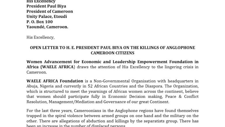 OPEN LETTER TO H. E. PRESIDENT PAUL BIYA ON THE KILLINGS OF ANGLOPHONE CAMEROON CITIZENS