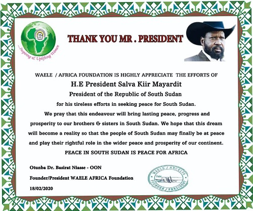 WAELE AFRICA Foundation Appreciates The Efforts Of H. E President Salva Kiir Mayardit Of South Sudan