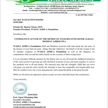 Condolence Letter On The Demise Of Your Beloved Sister Alhaja Mosidat Ajiboluwa